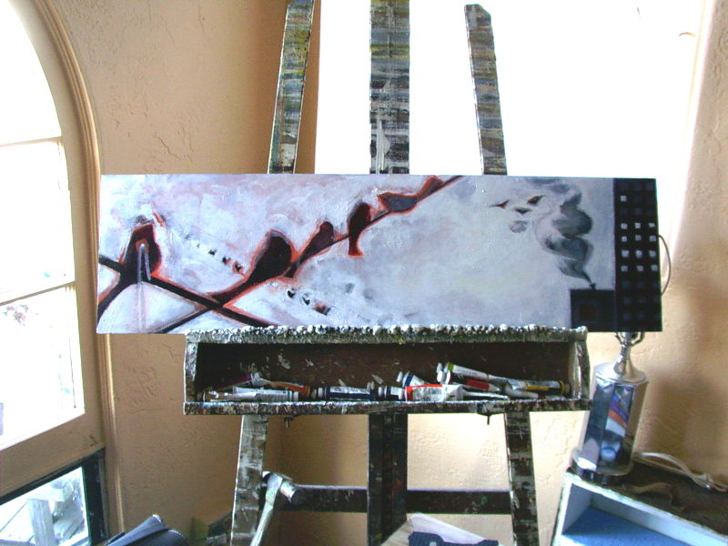 Birds on easel